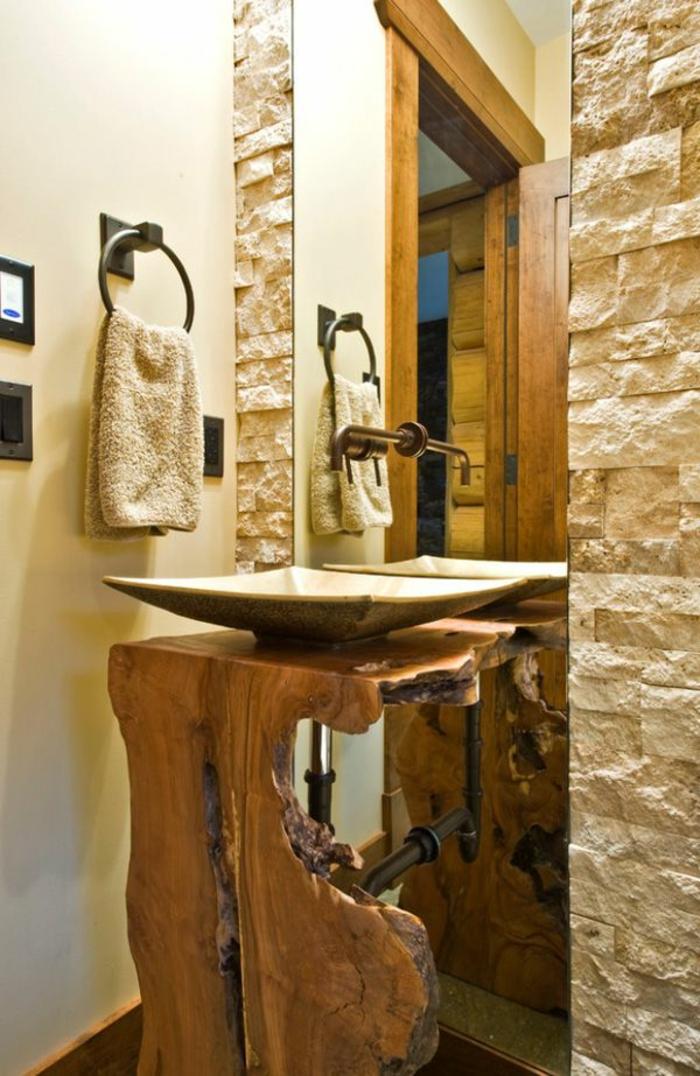 meuble salle de bain bois brut. Black Bedroom Furniture Sets. Home Design Ideas