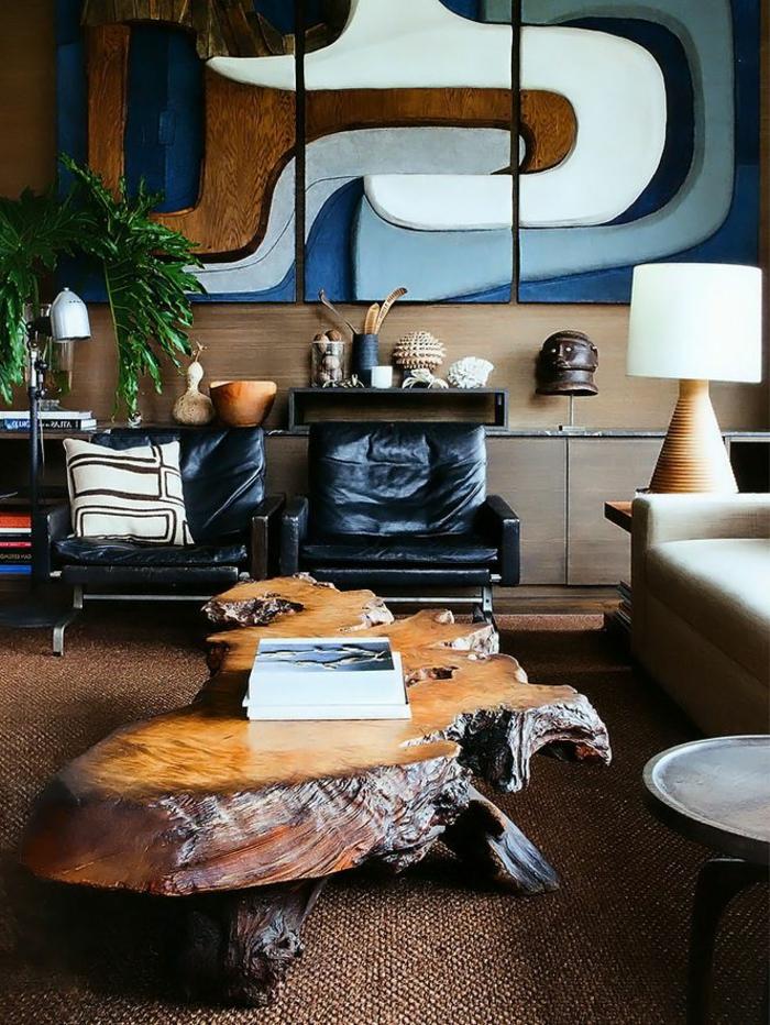 meubles-en-bois-brut-table-basse-bois-brut-et-fauteuils-en-cuir-noir