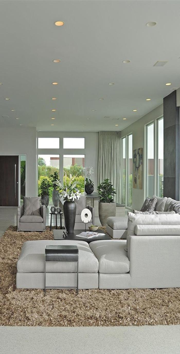 meubles-scandinaves-palaiseau-meuble-design-scandinave-tapis-beige-canapé-gris-dans-le-salon