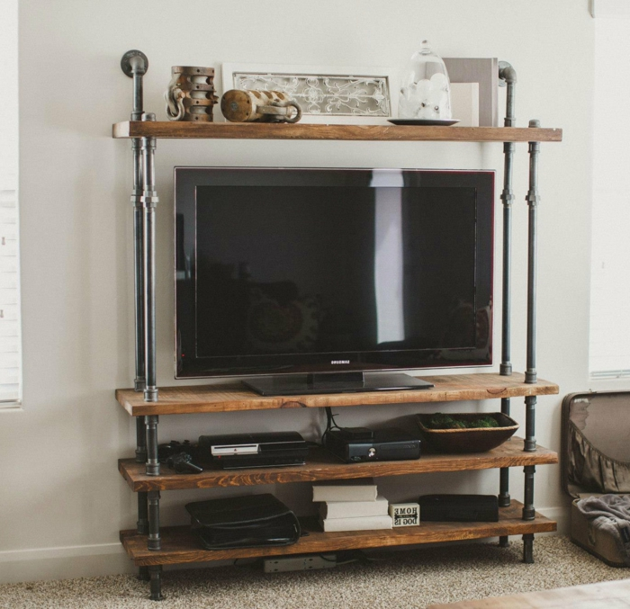 Le meuble tv style industriel en 50 images for Meuble etagere tv