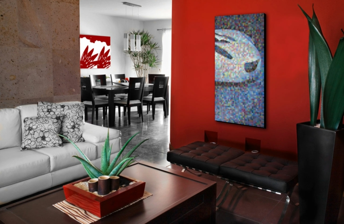 mur-rouge-couleur-bordeau-mur-plante-verte-carrelage-gris-chaise-de-cuisine