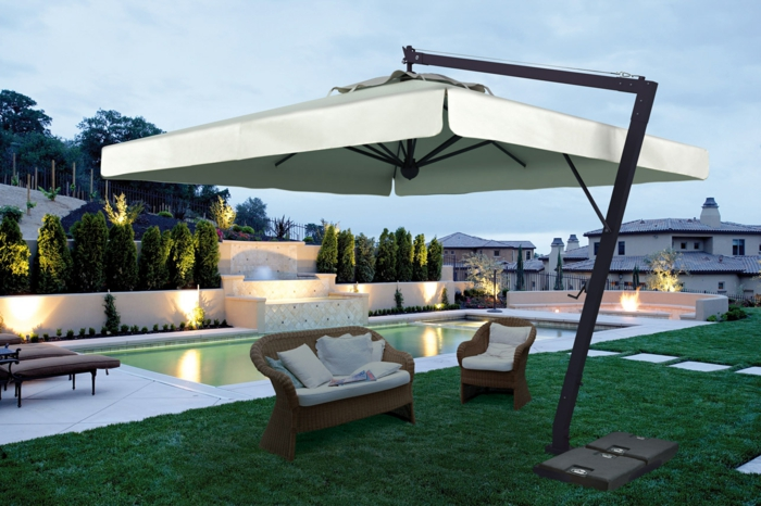 Le parasol rectangulaire en photos qui va vous inspirer for Comment avoir un salon de jardin blanc