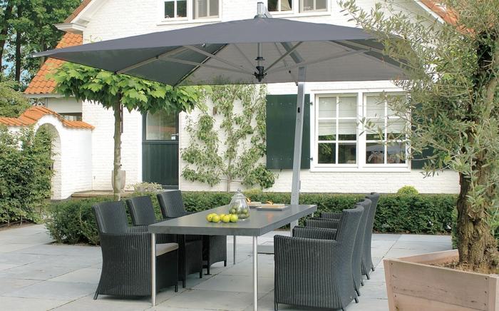 Le parasol rectangulaire en photos qui va vous inspirer - Table de jardin avec parasol ...