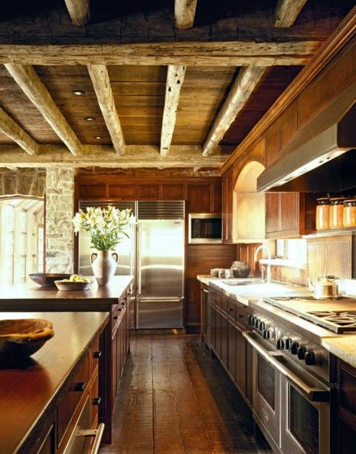 La cuisine en bois massif en beaucoup de photos for Esszimmer rustikal modern