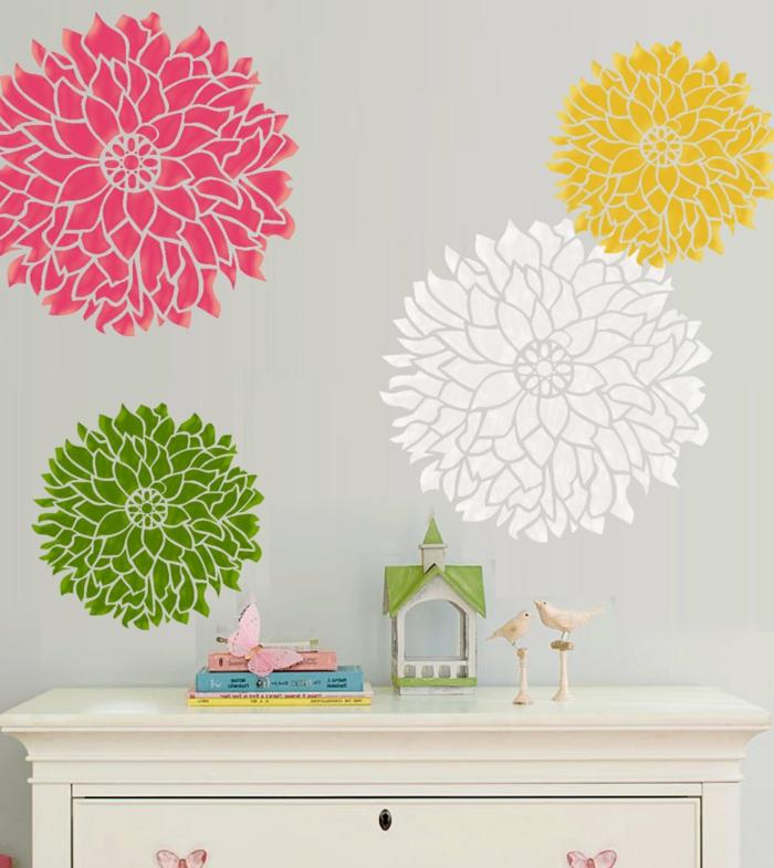 pochoirs-muraux-décoration-chambre-fleurs-pochoir