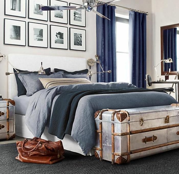 rideau-en-lin-bleu-chambre-à-coucher