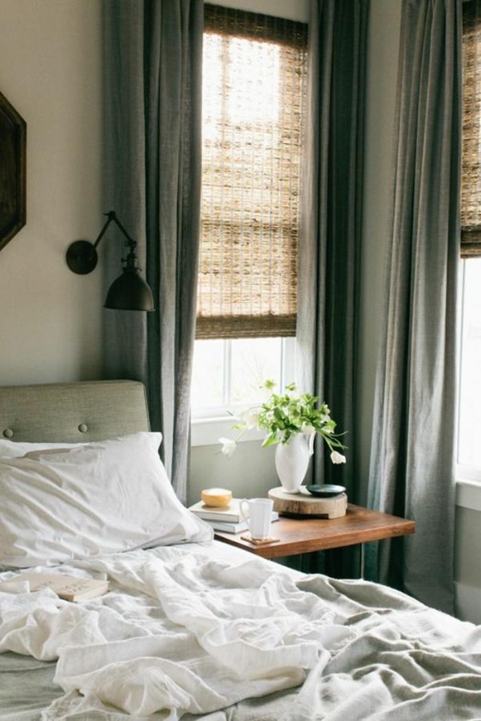 rideau-en-lin-chambre-à-coucher-simple