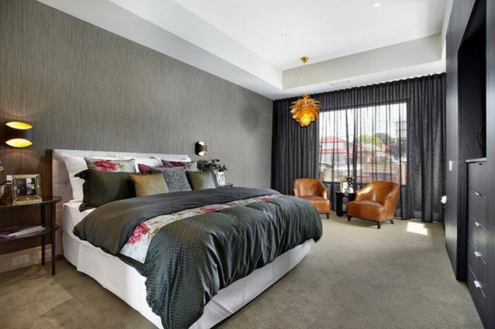 rideau-en-lin-noir-transparent-chambre-à-coucher-moderne