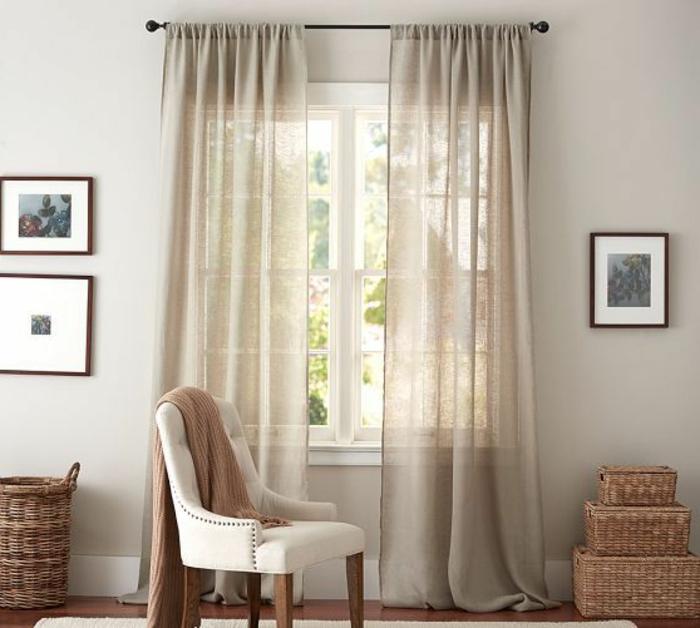 Le rideau en lin une belle d coration pour l 39 int rieur - Idee deco rideau salon ...