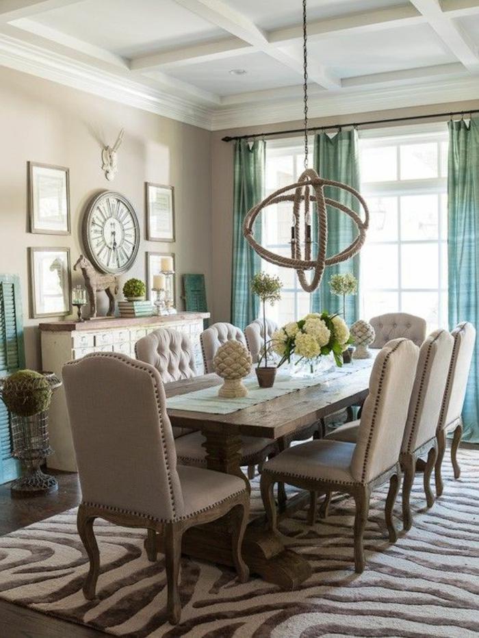 rideau-en-lin-rideau-lin-turquoise-salle-à-manger-beige