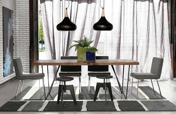 rideau-en-lin-salle-à-manger-rideau-lin-gris