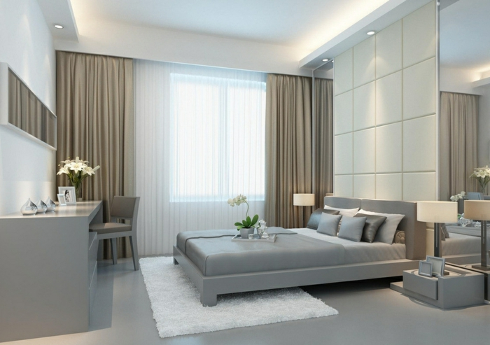 rideau-ocultant-beige-chambre-à-coucher-sol-en-lino-gris-lit-gris-rideaux-ikea-beiges