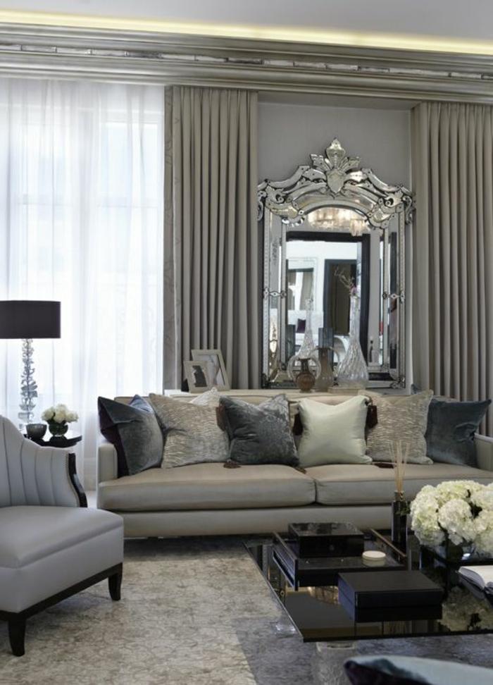 Rideaux beige salon id es de d coration et de mobilier for Salon beige et gris