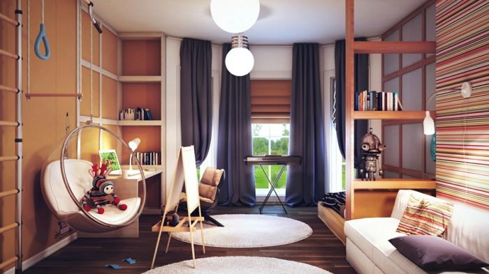 rideau-ocultant-violet-rideaux-occultants-tapis-rond-blanc-dans-le-salon-moderne-parquet-marron-foncé