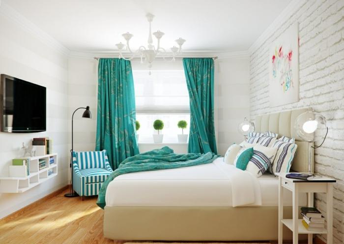 rideaux-occultants-de-couleur-turquoise-chambre-à-coucher-moderne-mur-de-briques-blancs