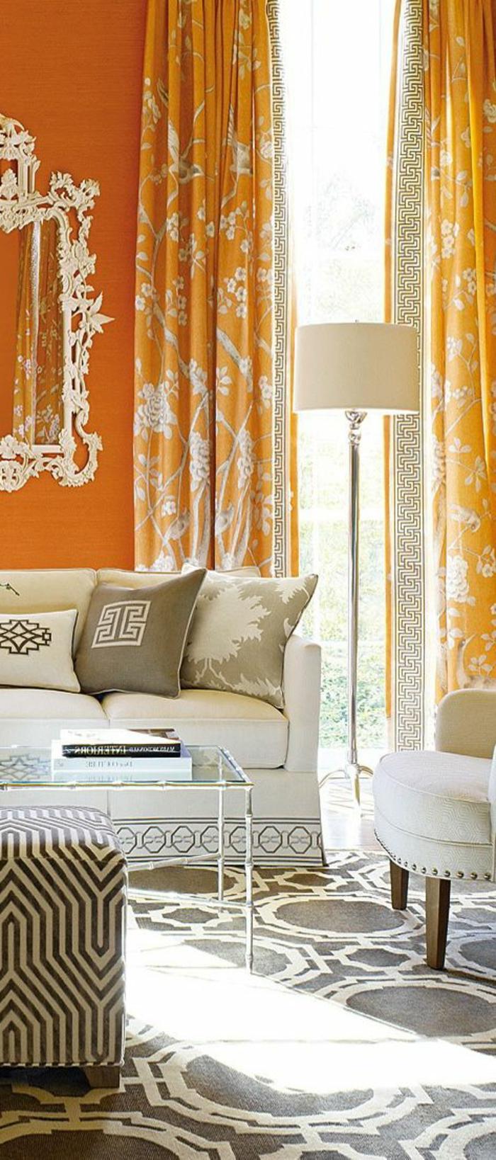 rideaux-occultants-pas-cher-rideau-occultant-ikea-de-couleur-orange-salon-moderne-tapis-a-motifs