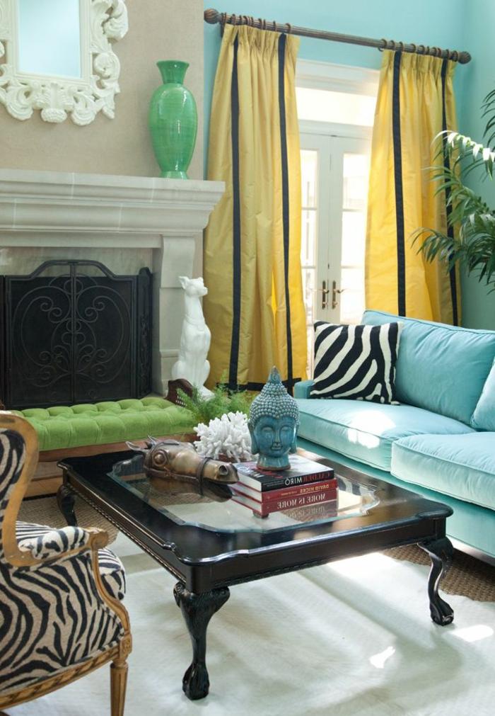 rideaux-occultants-pas-cher-rideau-occultant-jaune-canapé-turquoise-salon-moderne-avec-une-table-basse-de-salon