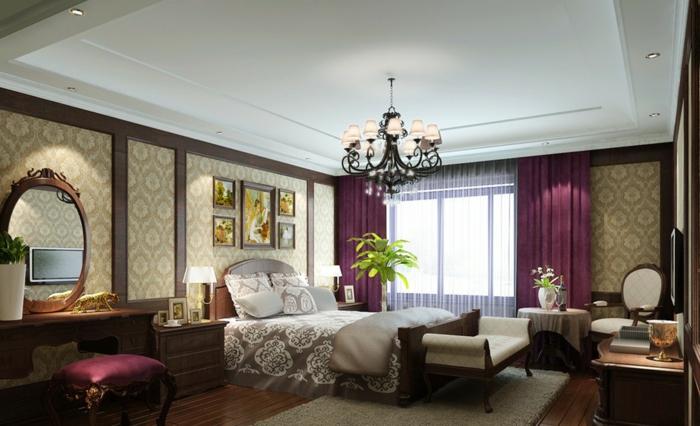 rideaux-occultants-violets-lustre-baroque-chambre-à-coucher-de-style-baroque