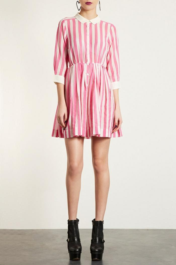 robe-chemise-a-rayures-blanc-rose-chemise-robe-rose-femme-moderne