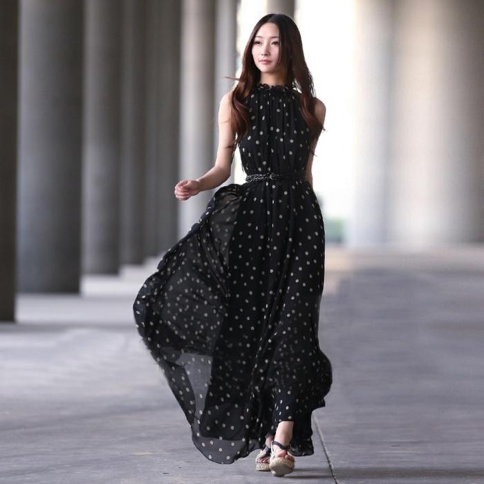 robe-longue-été-robe-d-été-longue-tenue-de-jour-femme-fatale-noir-et-points-blancs