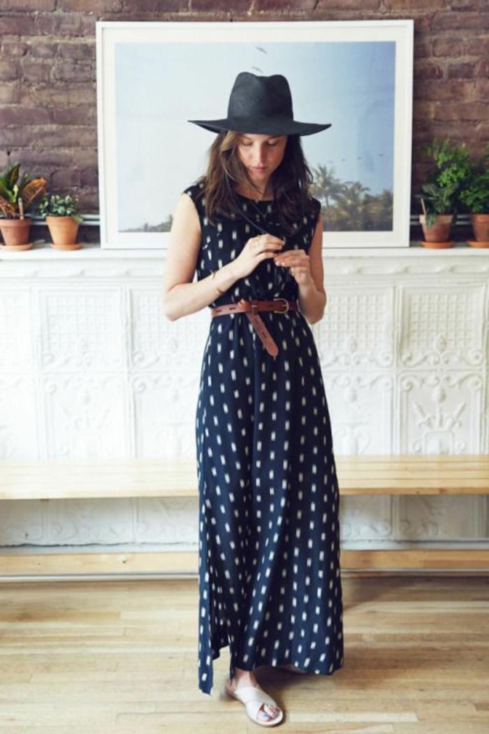 robe-longue-été-robe-d-été-longue-tenue-de-jour-noir-chapeau-fedora