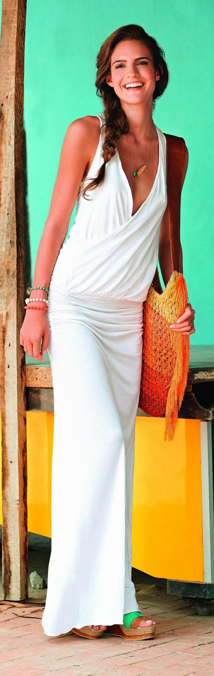 robe-longue-été-robe-d-été-longue-tenue-de-jour-platforme-robe-blanche