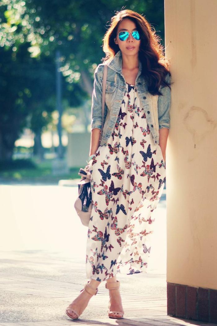 Robe longue et veste en jean