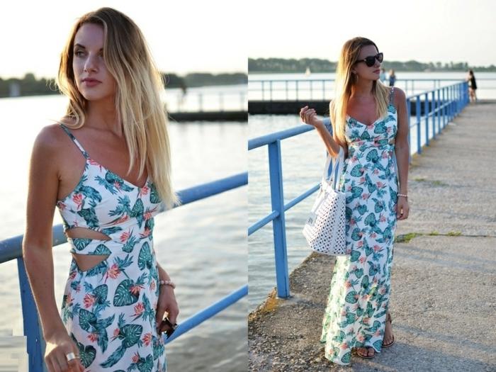 robe-longue-d-été-robes-longues-d-été-chique-casuel-fleurs-blanc-et-vert