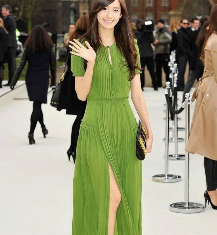robe-longue-d-été-robes-longues-d-été-chique-casuel-robe-verte-fente