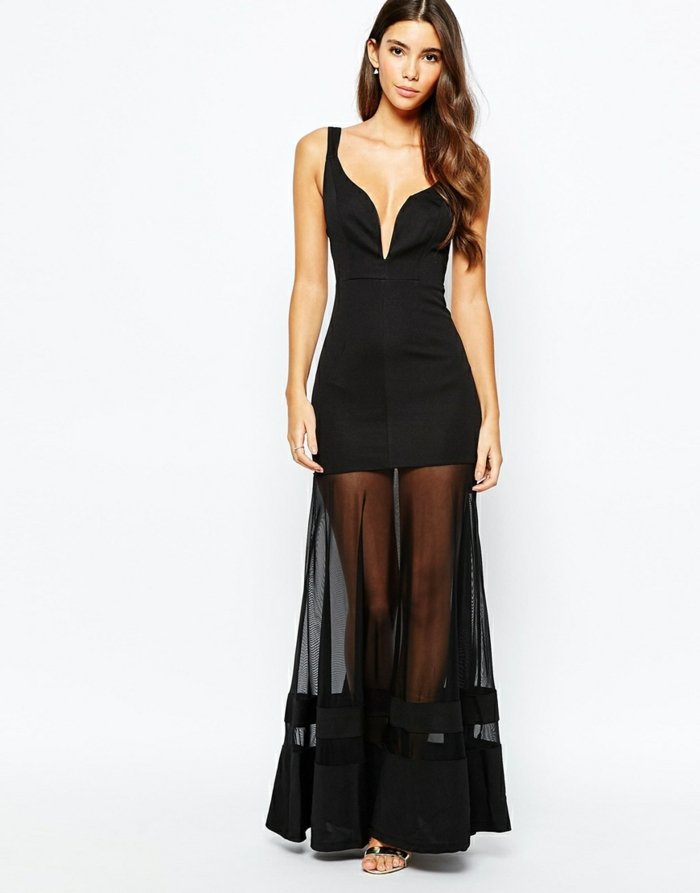 robe-longue-fluide-été-robe-été-mi-longue-petite-robe-noire