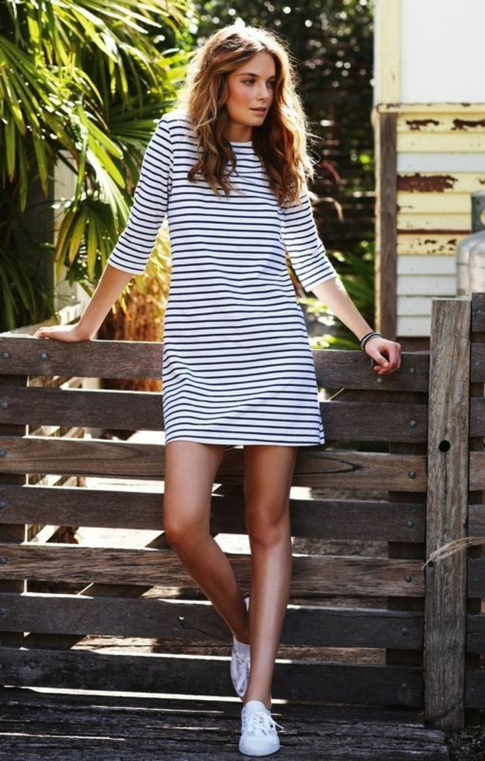 robe-tunique-blanche-rayures