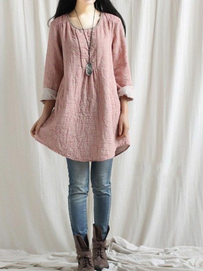 robe-tunique-combinée-avec-denims