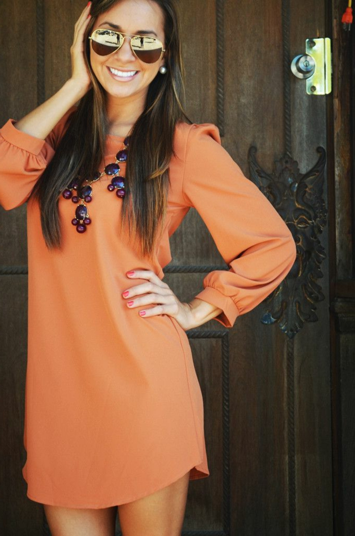 robe-tunique-mini-orange