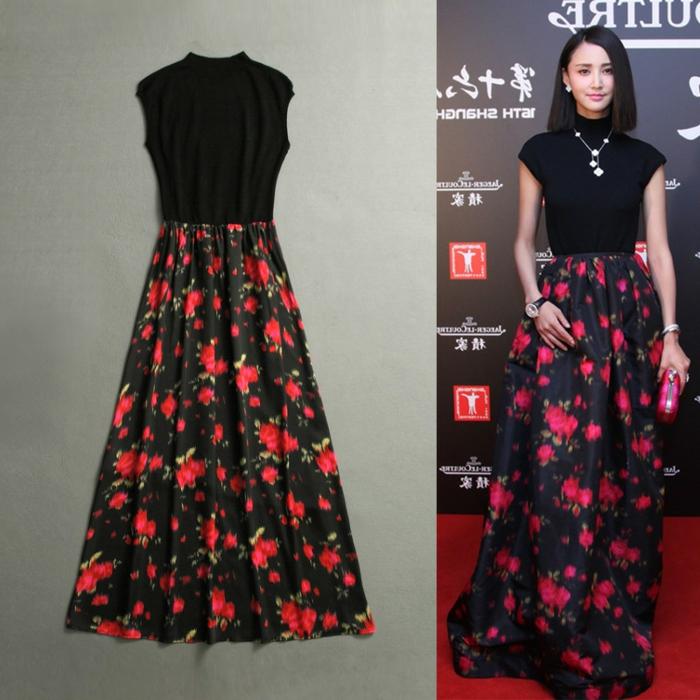 Longue robe rouge et noir