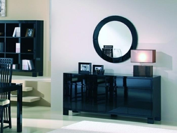 salon-bahuts-noirs-laqués-originale-style-miroir-ronde