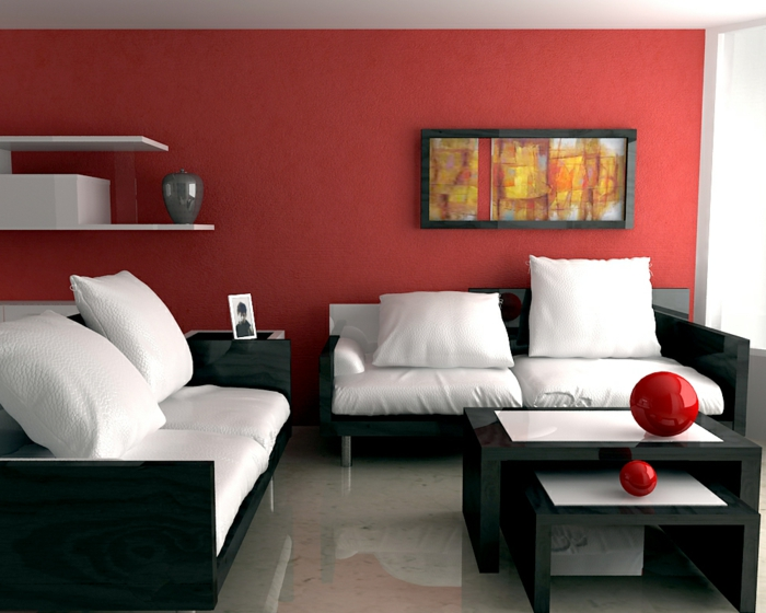 salon-canapé-blanc-coussins-blancs-mur-couleur-carmin-bordeau-peinture-murale