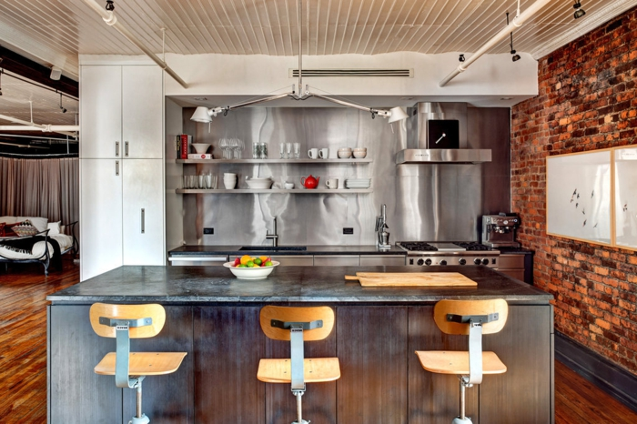 La deco loft new yorkais en 65 images for Amenagement cuisine industrielle