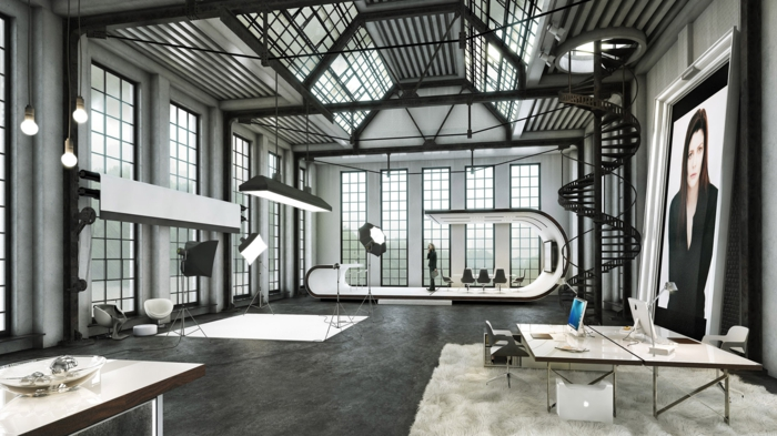La deco loft new yorkais en 65 images - Decoration industrielle salon ...