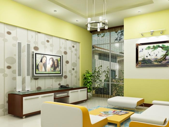 salon-feng-shui-aménagement-de-salon-mur-vert-pastel-chambre-zen-maison-zen