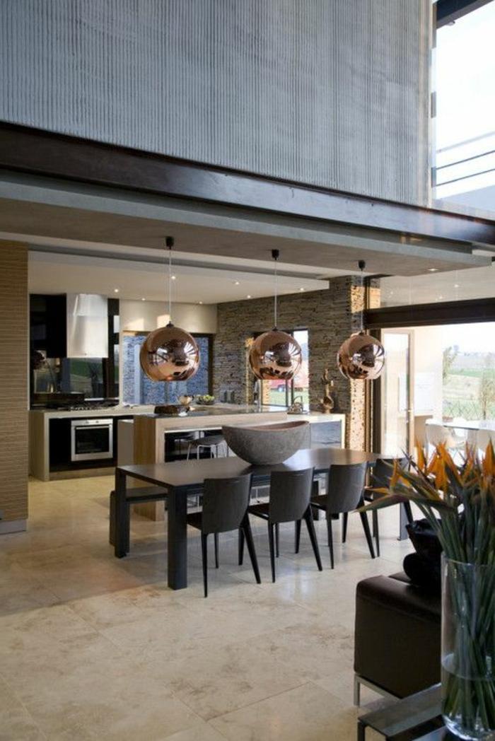 suspension-cuivre-intérieur-de-maison-contemporaine
