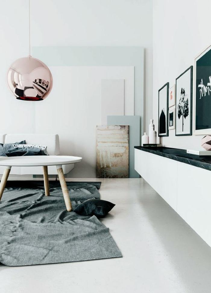 suspension cuivre, décor scandinave en noir et blanc