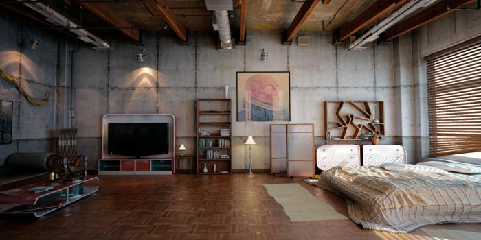 Le meuble tv style industriel en 50 images - Chambre style loft industriel ...
