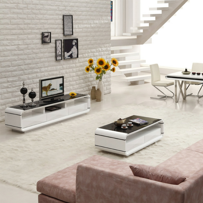 table-basse-industrielle-meuble-télé-moderne
