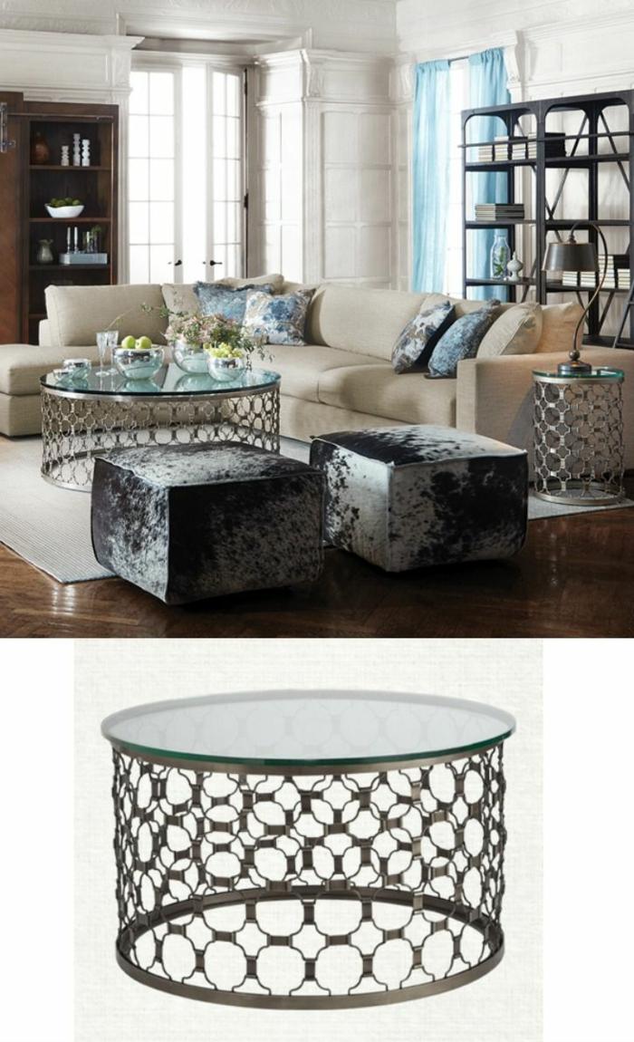 table-basse-ronde-métal-et-verre-tabourets-cosy-et-sofa-crème