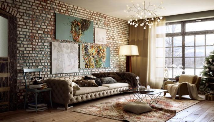table-carrée-basse-mur-en-briques-fantastique