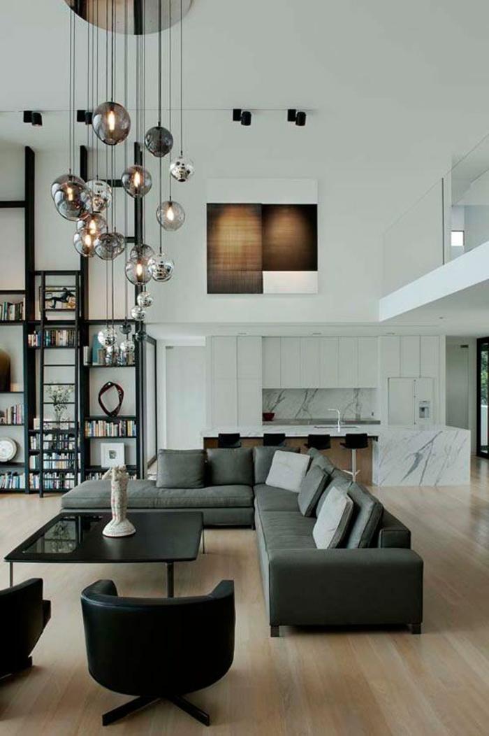 table-carrée-noire-suspensions-boules-appartement-loft