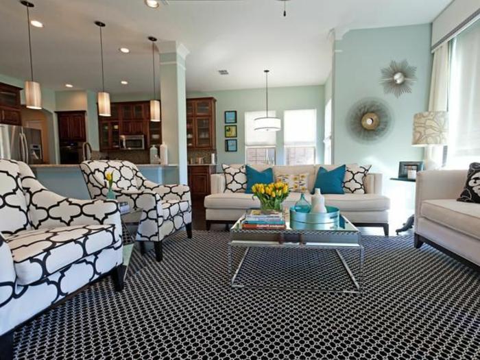 table-carrée-tapis-et-fauteuils-prints-géométriques