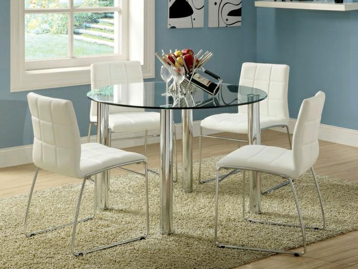 table-ronde-en-vere-table-de-salle-de-séjour-en-verre-plateau-de-table-en-verre-chaises-blanches