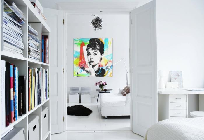 tableau-pop-art-audrey-intérieur-tout-blanc
