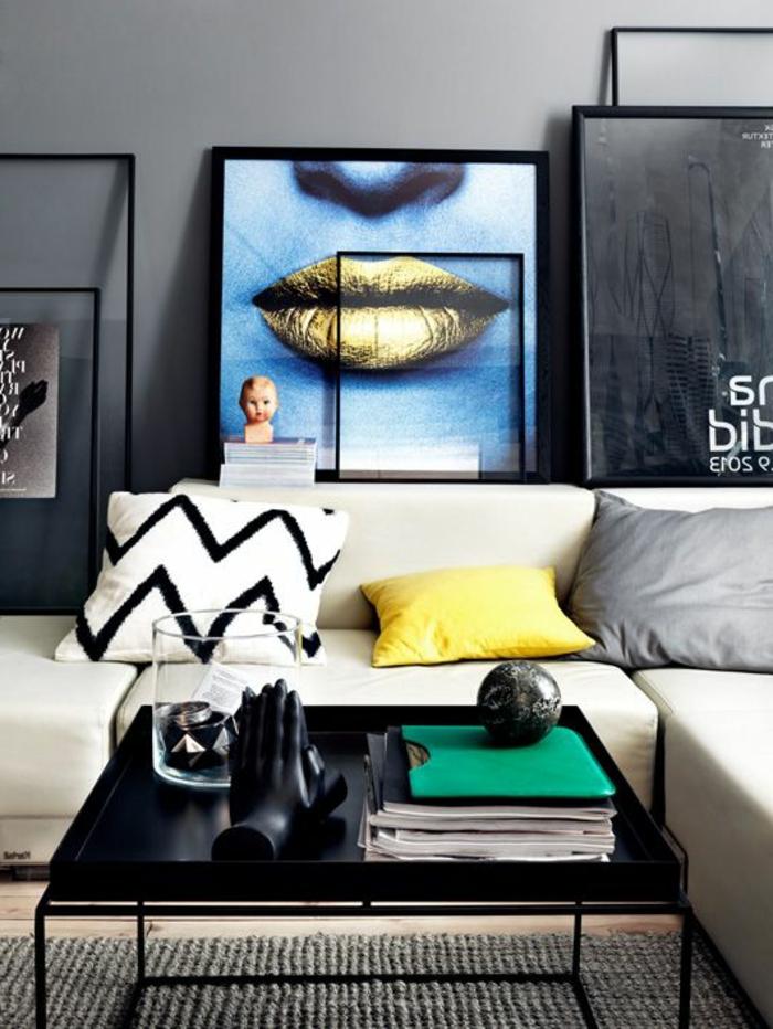 tableau-pop-art-et-table-basse-noire